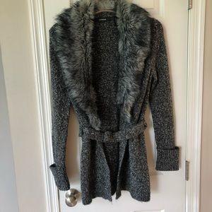 Express long gray cardigan faux fur M